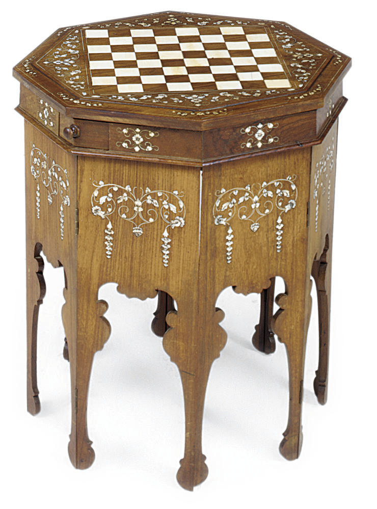 AN ANGLO-INDIAN IVORY INLAID H