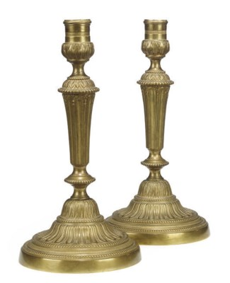 A PAIR OF LOUIS XVI BRASS CAND
