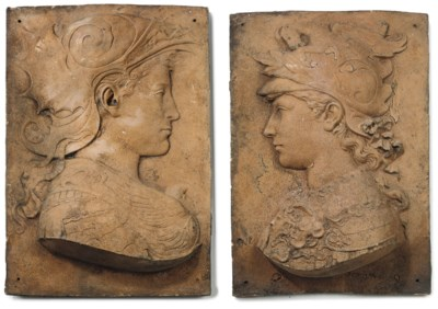 A PAIR OF FRENCH TERRACOTTA RE