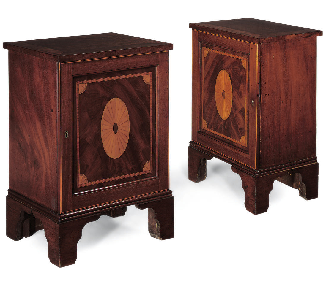 A PAIR OF MAHOGANY INLAID AND