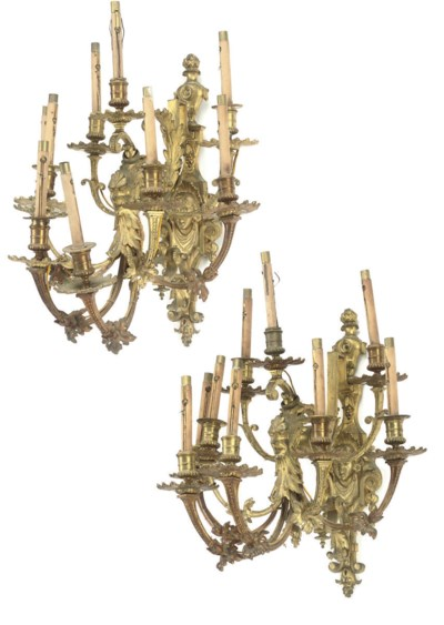 A SET OF FIVE FRENCH GILT-BRAS