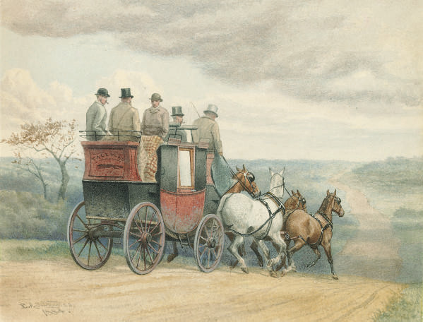 The stage coach Tally Ho on the open road
