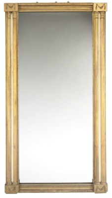 A GILT AND PAINTED PIER MIRROR