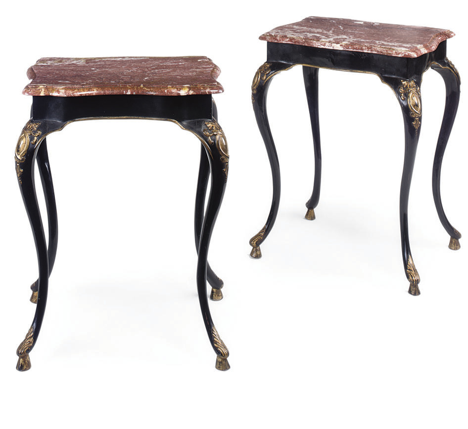 A PAIR OF PARCEL-GILT AND EBON