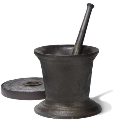 AN ENGLISH CAST-IRON MORTAR