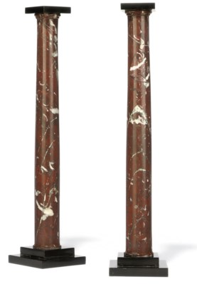 A PAIR OF FRENCH ROUGE MARBLE