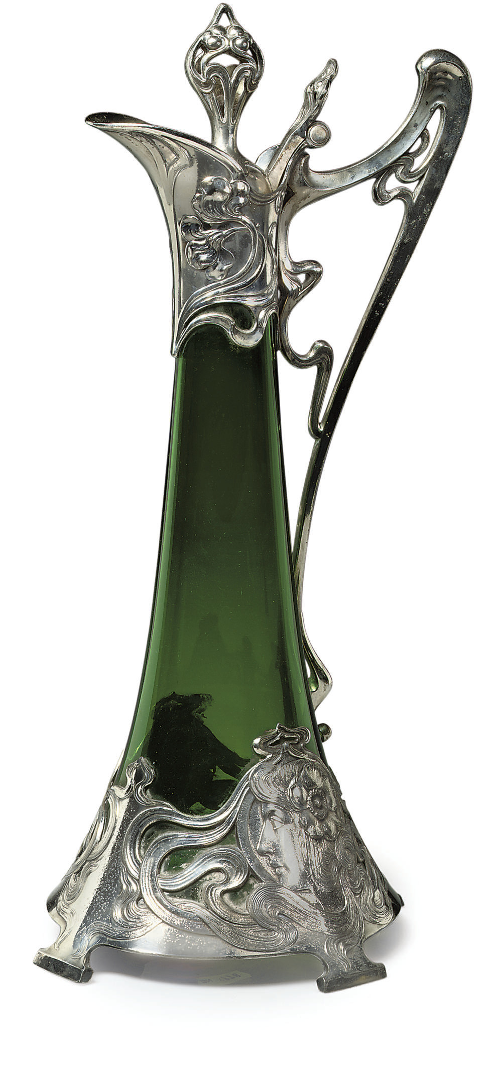 A WMF SILVERED METAL WINE EWER