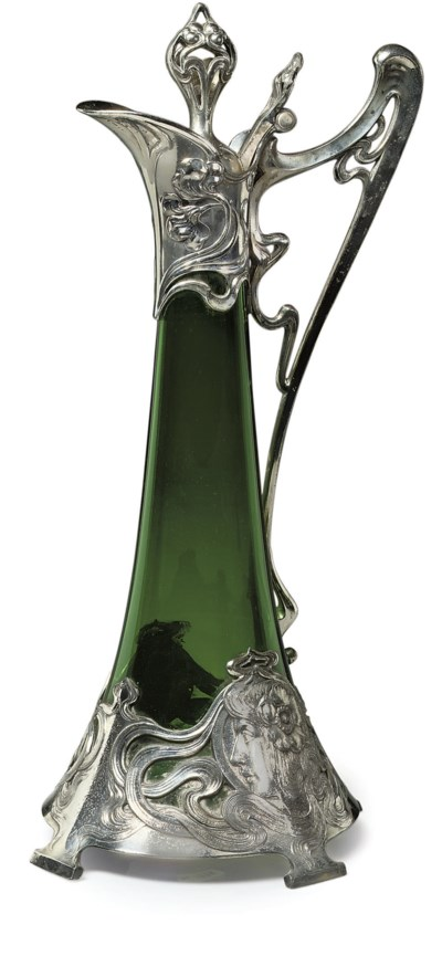 A WMF SILVERED METAL WINE EWER