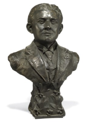 A FRENCH BRONZE BUST OF A MAN