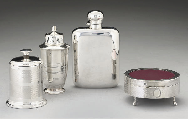 A LARGE SILVER SPIRIT FLASK