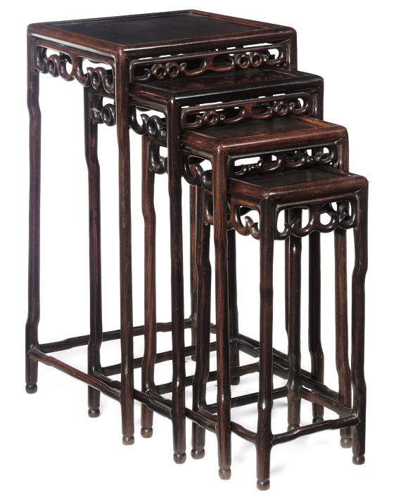 A SET OF CHINESE HARDWOOD QUAR