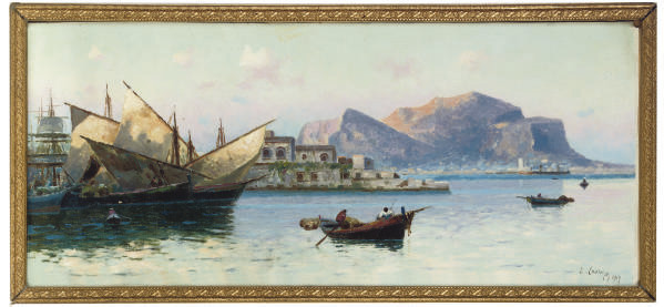Fishing at sunrise, Palermo bay