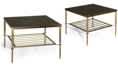 A PAIR OF GILT-BRASS TWO TIER