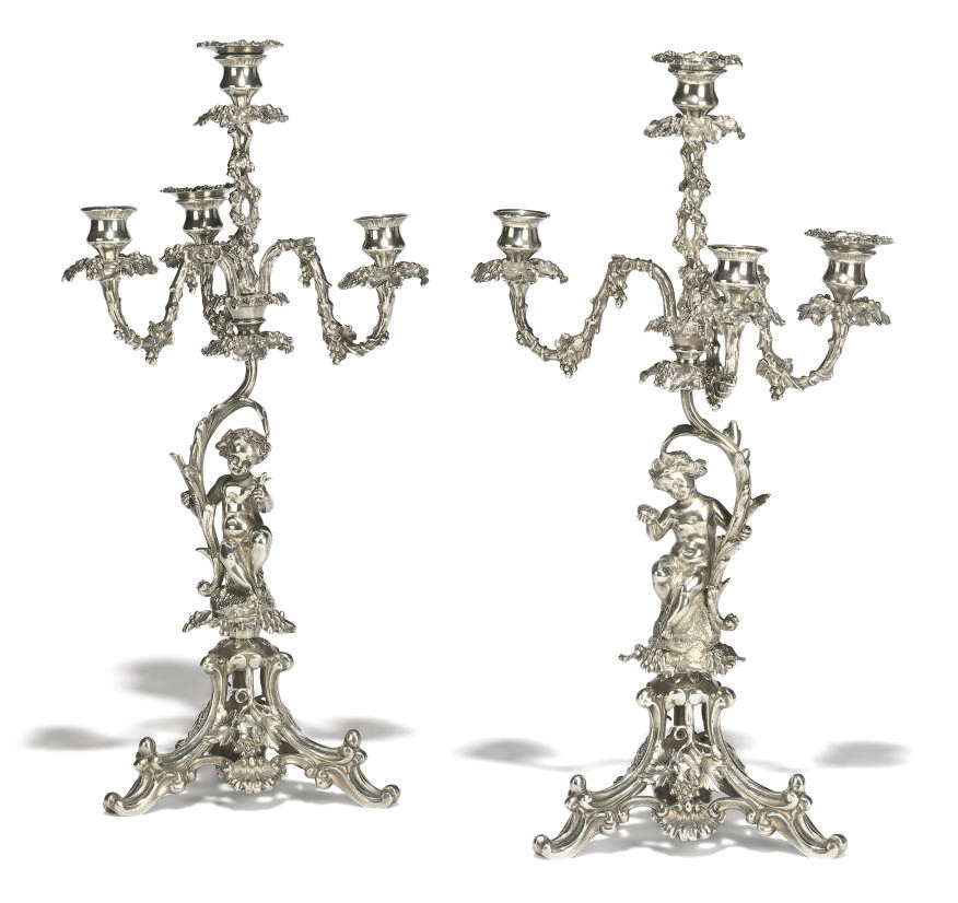 A PAIR OF SILVER-PLATED FOUR-L