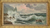 Seascape with crashing waves
