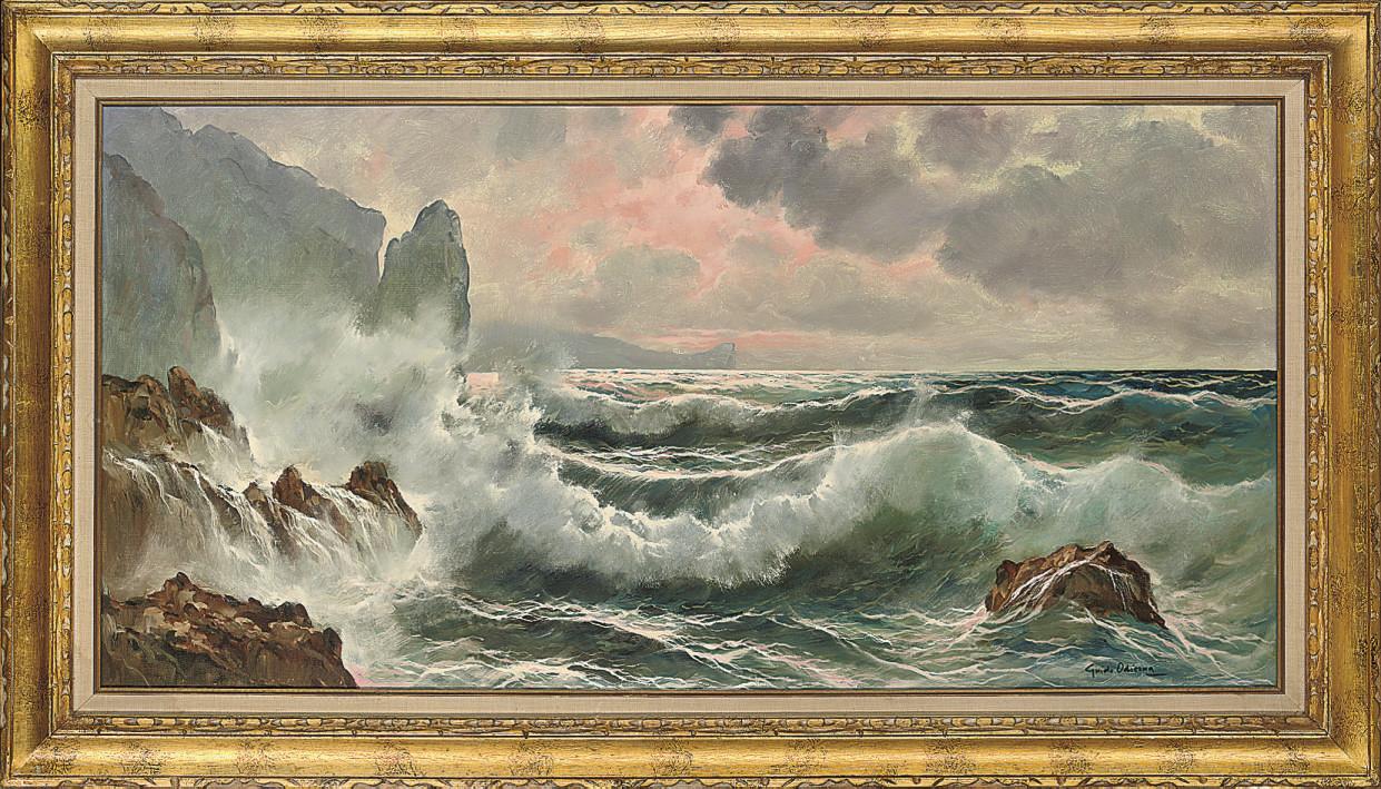 Seascape with crashing waves