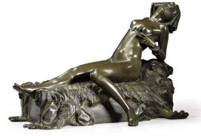 CLEOPATRA, A PATINATED BRONZE