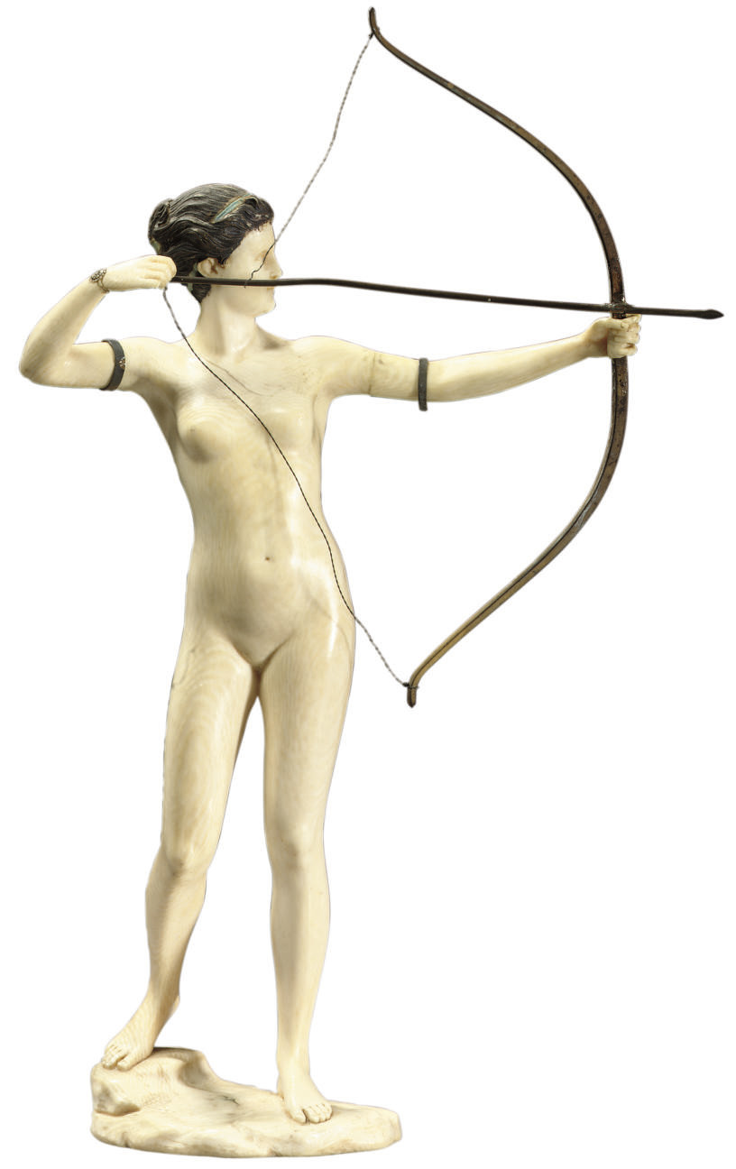 THE ARCHER, A CARVED IVORY FIG