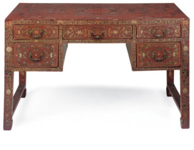 A CHINESE RED LACQUER AND PARC