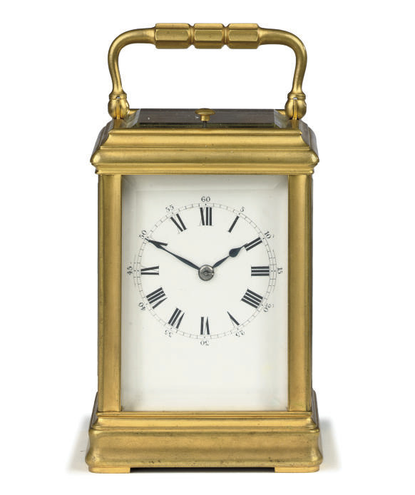 A French brass petite sonnerie eight day carriage clock