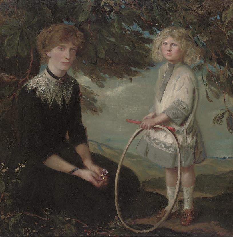 Portrait of a mother, seated full-length in a garden, her daughter standing beside her holding a hoop