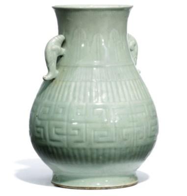 A CHINESE CELDON GLAZED HU VAS