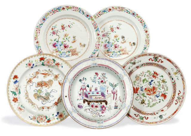 FOUR CHINESE EXPORT ENAMELLED