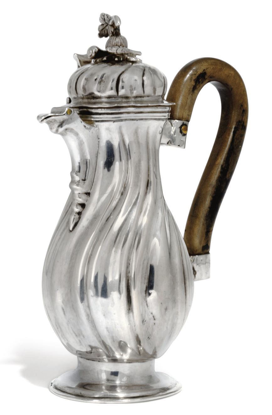 A GERMAN SILVER HOT MILK JUG