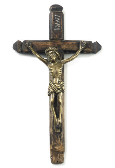A DINANT BRASS CRUCIFIX FIGURE