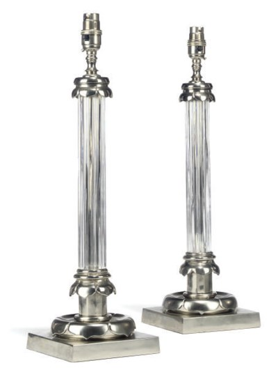 A PAIR OF SILVER-PLATED AND GL