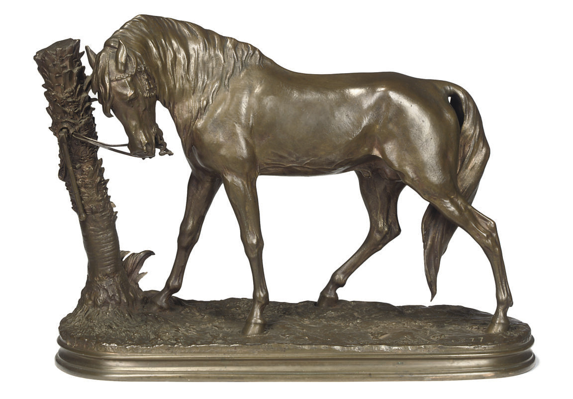 A FRENCH BRONZE OF AN ARAB HOR