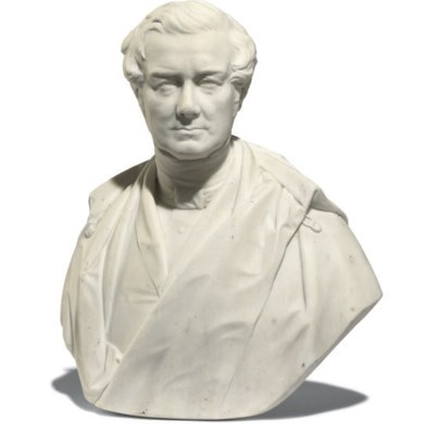 A VICTORIAN MARBLE BUST OF SIR