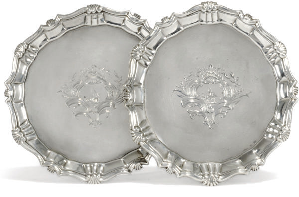 A PAIR OF SMALL GEORGE II SILV