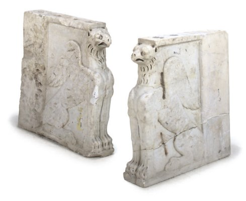 A PAIR OF WHITE MARBLE CONSOLE