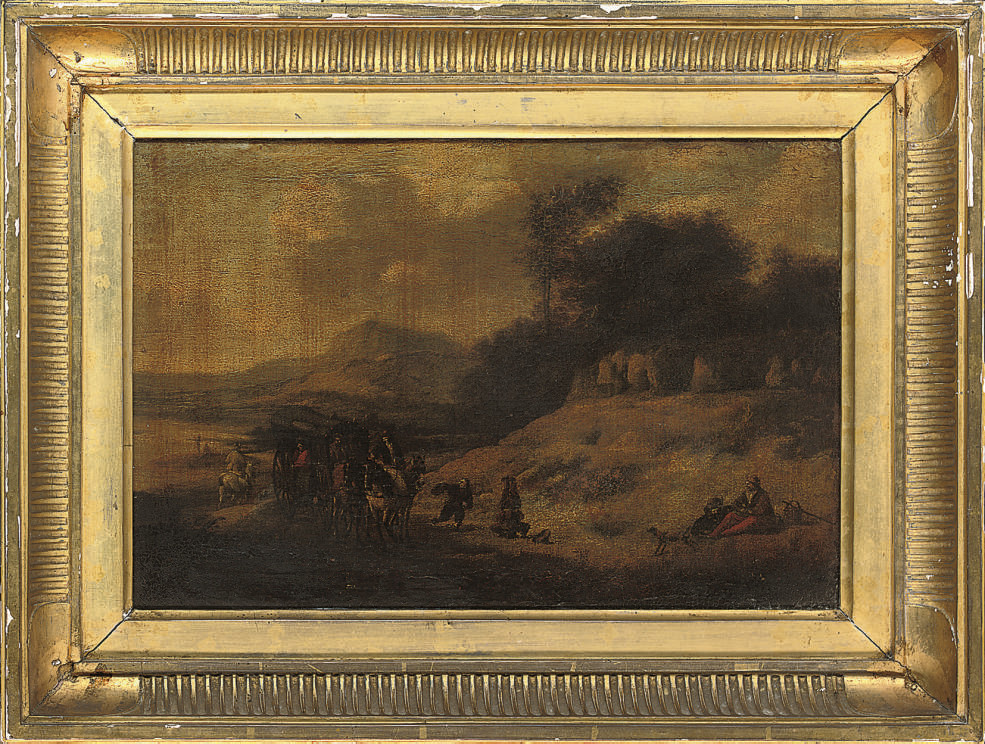 A landscape with travellers at rest on a track