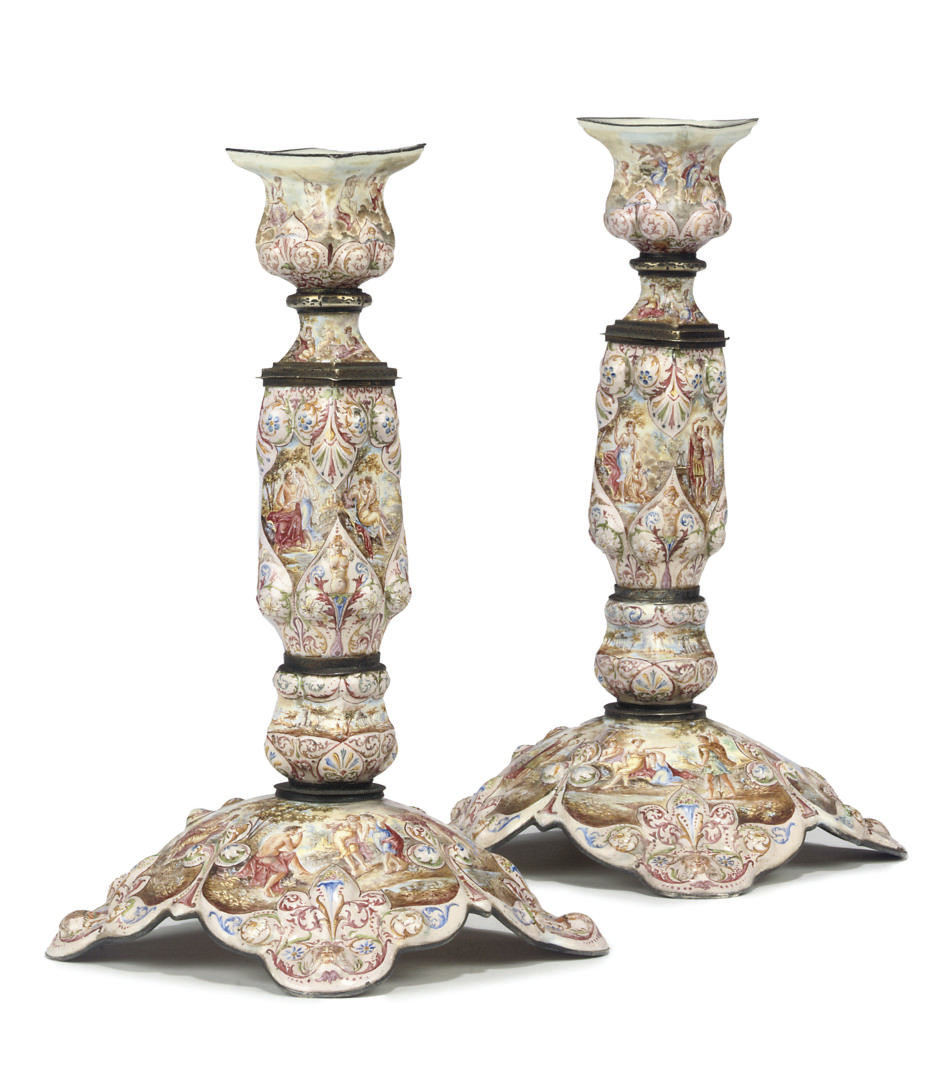 A PAIR OF VIENNA ENAMEL AND SI