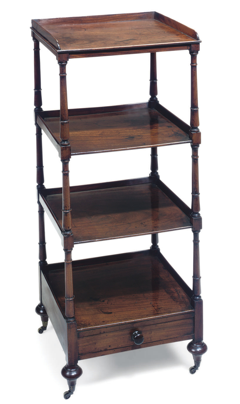 A REGENCY MAHOGANY FOUR TIER W