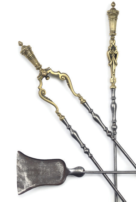 A SET OF FRENCH STEEL AND GILT