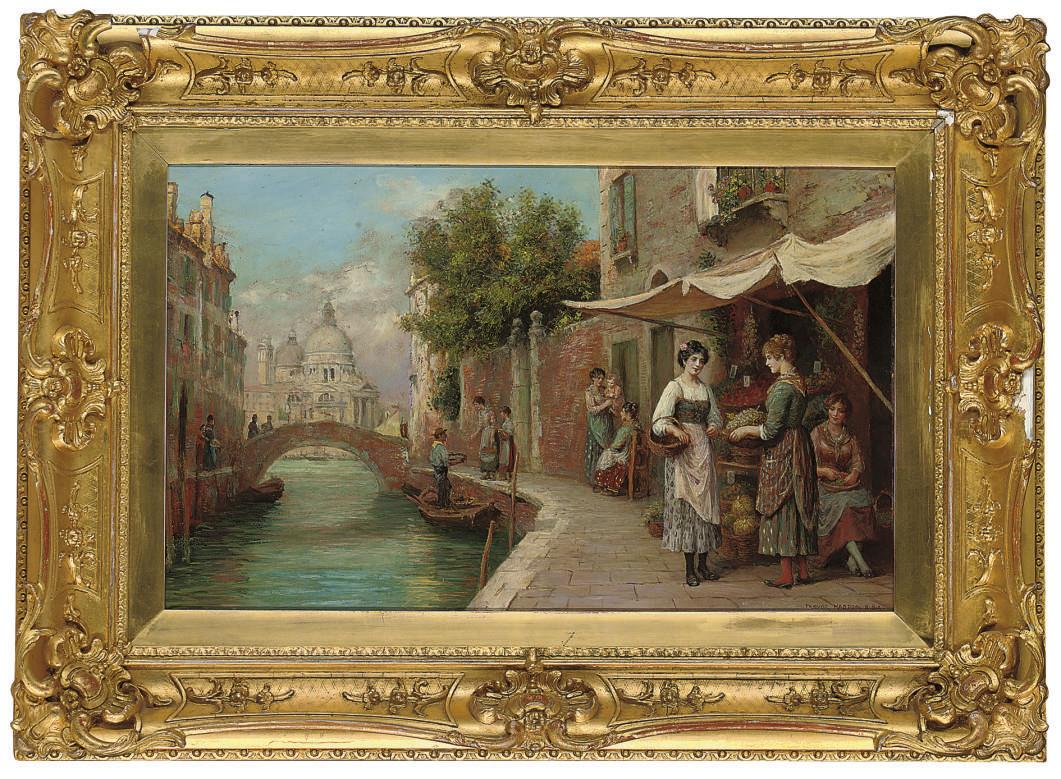 Fruit sellers on a Venetian backwater, Santa Maria della Salute beyond