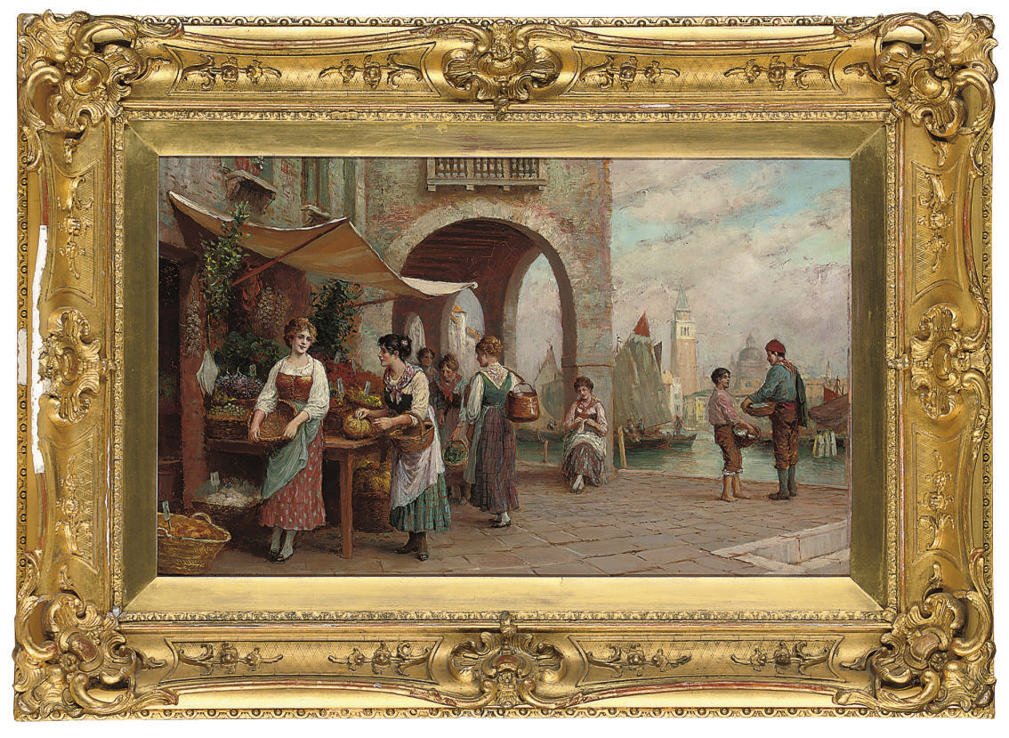A Venetian market, the Campanile di San Marco beyond