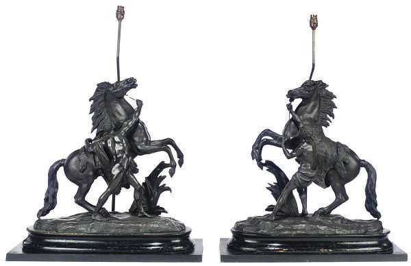 A PAIR OF FRENCH SPELTER MODEL