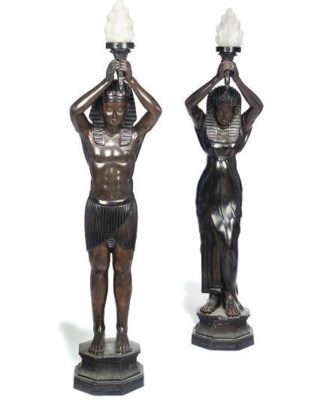 A PAIR OF BRONZE EGYPTIAN FIGU