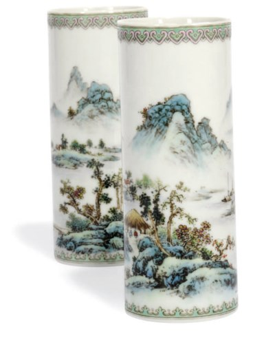 A PAIR OF CHINESE CYLINDRICAL