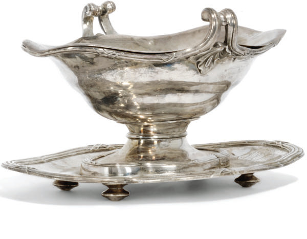 A FRENCH SILVER SAUCEBOAT ON S