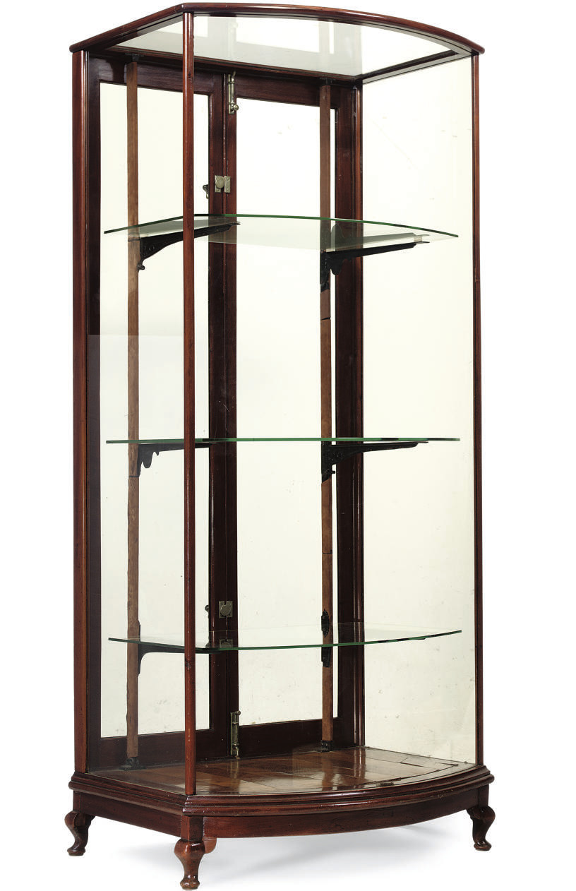 A MAHOGANY AND GLASS MOUNTED B