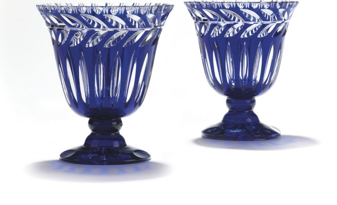 A PAIR OF BOHEMIAN BLUE-FLASH