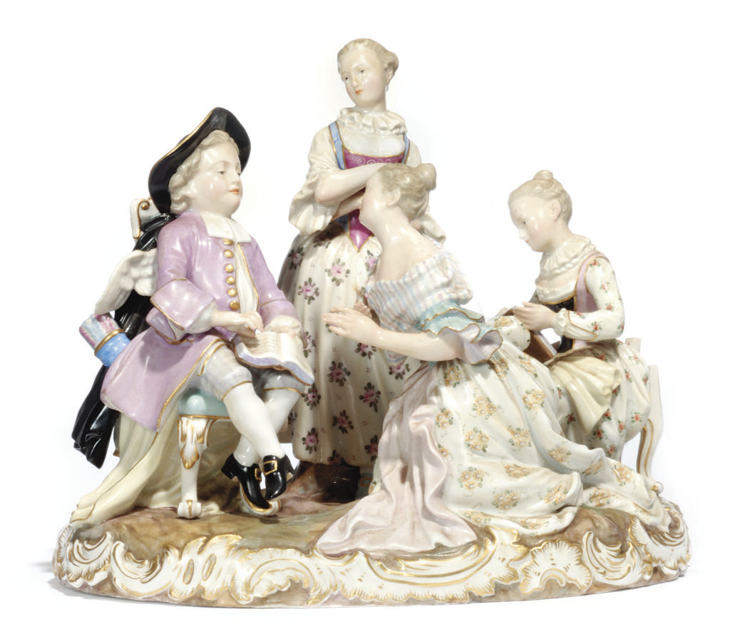 A MEISSEN PORCELAIN GROUP OF C
