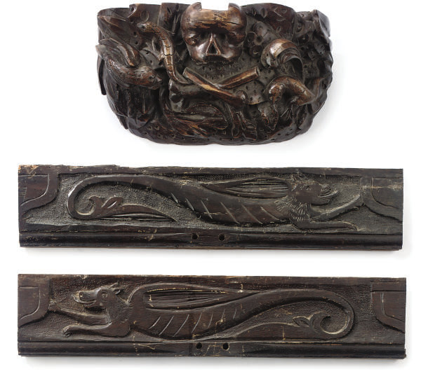 A CARVED OAK GOLGOTHA BRACKET