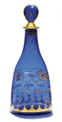 AN ENGLISH BLUE GLASS DECANTER