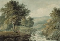 Anglers resting by a river, a ruin beyond